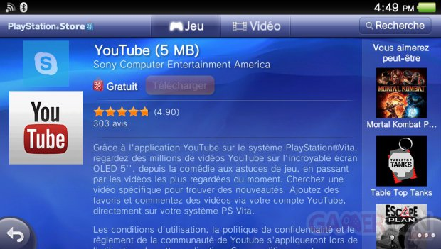 YouTube application playstation vitacapture screenshot install 2012 06 26 01